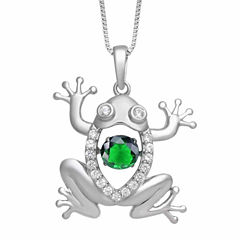Love in Motion Womens Green Emerald Sterling Silver Pendant Necklace