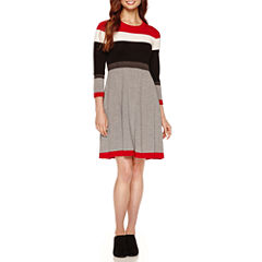 Jessica Howard 3/4 Sleeve Colorblock Sweater Dress