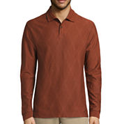 Haggar© Long-Sleeve Double Jacquard Polo