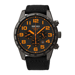 Seiko® Mens Black Nylon Strap Solar Chronograph Watch SSC233