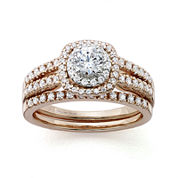 Modern Bride® Signature 1 CT. T.W. Certified Diamond 14K Rose Gold Bridal Ring Set