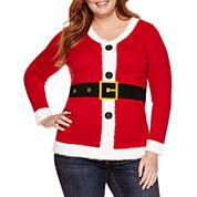 Tiara International V Neck Knit Pullover Sweater - Plus