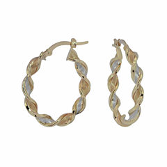 14K Yellow Gold Twisted Ribbon Hoop Earrings