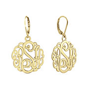Personalized 14K Gold Over Sterling Silver Monogram Drop Earrings