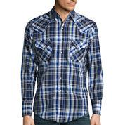 Ely Cattleman Long Sleeve Dobbby Snap Plaid Shirt