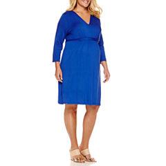 3/4 Sleeve Empire Waist Dress-Plus Maternity