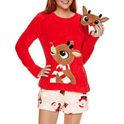 Secret Santa Shorts Pajama Set-Juniors