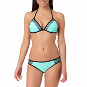 Arizona Colorblock Mesh Pushup Triangle Swim Top or Mesh Mint Hipster Bottoms