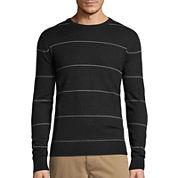 St. John's Bay® Long-Sleeve Striped Fine-Gauge Crewneck Sweater