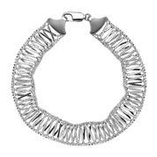 Sterling Silver Woven X-Design Bracelet