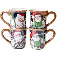 Certified International Santa's Workshop Set of 4 Mugs