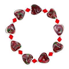 Dazzling Designs™ Red Glass Heart Bead Bracelet