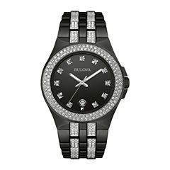 Bulova® Crystal Mens Crystal-Accent Black Stainless Steel Watch 98B251
