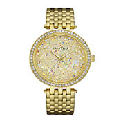 Caravelle New York® Womens Crystal-Accent Gold-Tone Stainless Steel Bracelet Watch 44L184