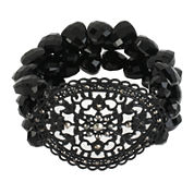 Worthington® Black Stone 3-Row Stretch Bracelet