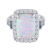Sterling Silver Lab-Created Opal & Blue Topaz Ring