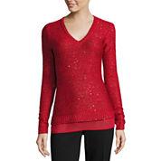 Liz Claiborne Long Sleeve U Neck Pullover Sweater