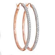 ¼ CT. T.W. Diamond 14K Rose Gold Over Sterling Silver Hoop Earrings