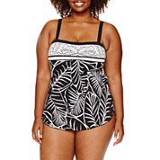 Azul by Maxine of Hollywood Pattern One Piece Swimsuit Plus