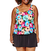 Azul by Maxine of Hollywood Solid Swim Dress-Plus