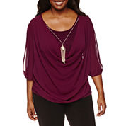 by&by 3/4 Sleeve Round Neck Crepe Blouse-Juniors Plus