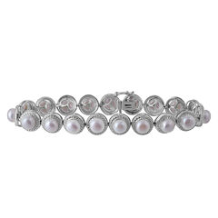 Womens Diamond Accent White Pearl Sterling Silver Beaded Bracelet