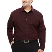Van Heusen Sateen Stripe Button -Front Shirt- Big and Tall