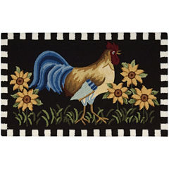 Nourison® Black Rooster Hand-Hooked Rectangle Rug