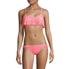 Arizona Mix & Match Coral Flounce Bralette Swim Top or Side-Tie Hipster Swim Bottom - Juniors