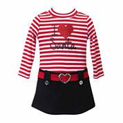 Lilt Long Sleeve Drop Waist Dress - Toddler