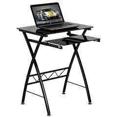 Black Tempered Glass Top Desk