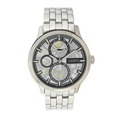 Geneva Mens Silver-Tone Skeleton-Look Watch