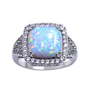Lab-Created Opal and White Sapphire Ring