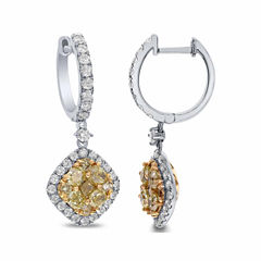 LIMITED QUANTITIES! 2 1/2 CT. T.W. Color-Enhanced Yellow Diamond 18K Gold Drop Earrings