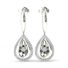Love in Motion 1/3 CT. T.W. White Diamond Drop Earrings