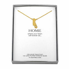 Diamond Accent 14K Yellow Gold over Silver California Pendant Necklace
