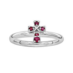 Personally Stackable Lab-Created Ruby Sterling Silver Cross Stackable Ring