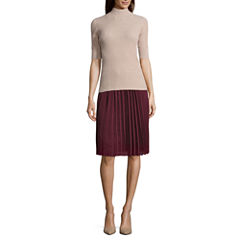 Worthington Funnel Sweater and Pleated Soft Skirt
