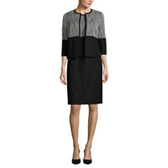 Black Label by Evan-Picone 3/4 Sleeve Zig Zag Cardigan Jacket with Sleeveless Zig Zag Sheath