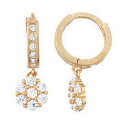 White Cubic Zirconia 14K Gold Over Silver Hoop Earrings