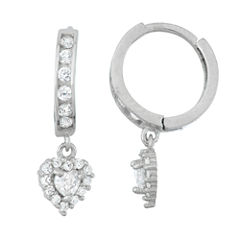 White Cubic Zirconia Sterling Silver Hoop Earrings