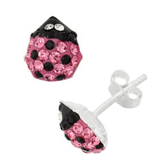 Round Pink Crystal Sterling Silver Stud Earrings