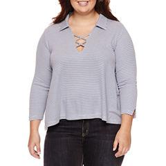 Embossed Short Sleeve Stripe Jersey Polo Shirt Juniors Plus