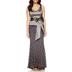 Blu Sage Sleeveless Belted Taffeta-Bodice Sequin-Lace Evening Gown