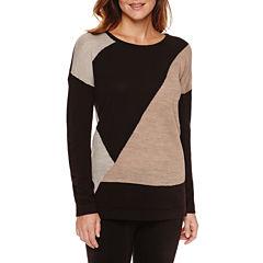 Liz Claiborne® Long-Sleeve Colorblock Tunic Sweater - Petite