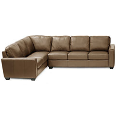 Leather Possibilities Track-Arm 2pc Left-Arm Corner Sofa Sectional