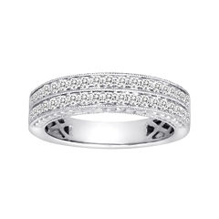 1 CT. T.W. Certified Diamond 14K White Gold Vintage-Style Wedding Band