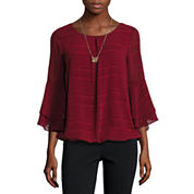 Alyx 3/4 Sleeve Scoop Neck Dobby Blouse