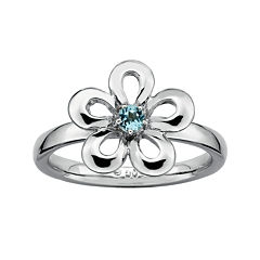 Personally Stackable Lab-Created Blue Topaz Sterling Silver Flower Ring
