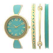 Womens Green Bangle Watch and Bracelet Set